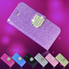 Hot selling shiny powder luxury glitter bling wallet case for iphone 6 with stand can mix color