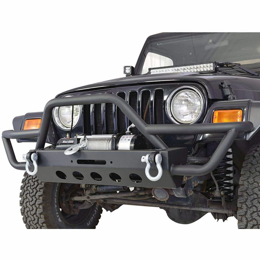 E-Autogrilles 87-06 Jeep Wrangler TJ/YJ Black Textured Front Bumper with Winch Plate & D-Rings (51-0028)