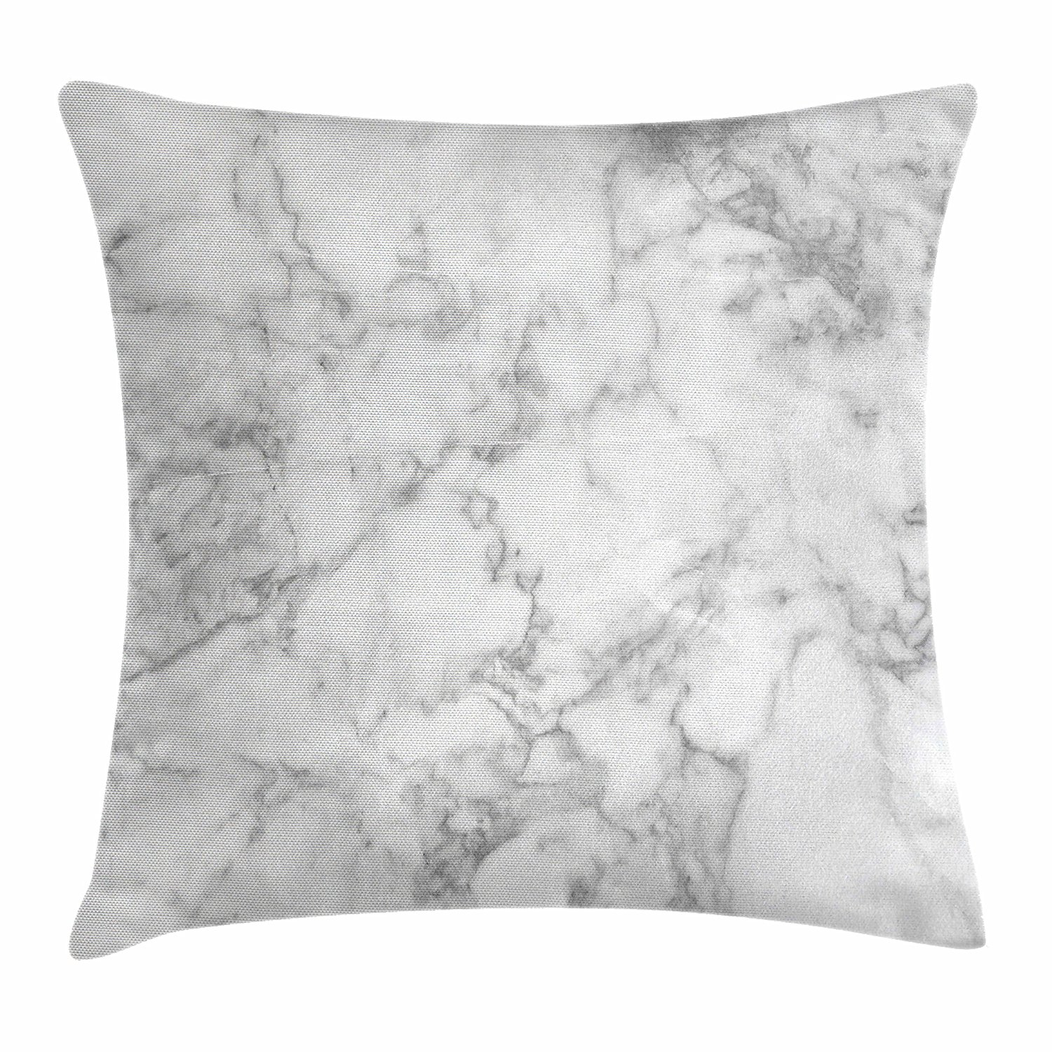 Ambesonne Marble Throw Pillow Cushion Cover, Nature Granite Pattern with Cloudy Spotted Trace Effects Marble Artistic Image, Decorative Square Accent Pillow Case, 18 X 18 Inches, Light Grey Dust