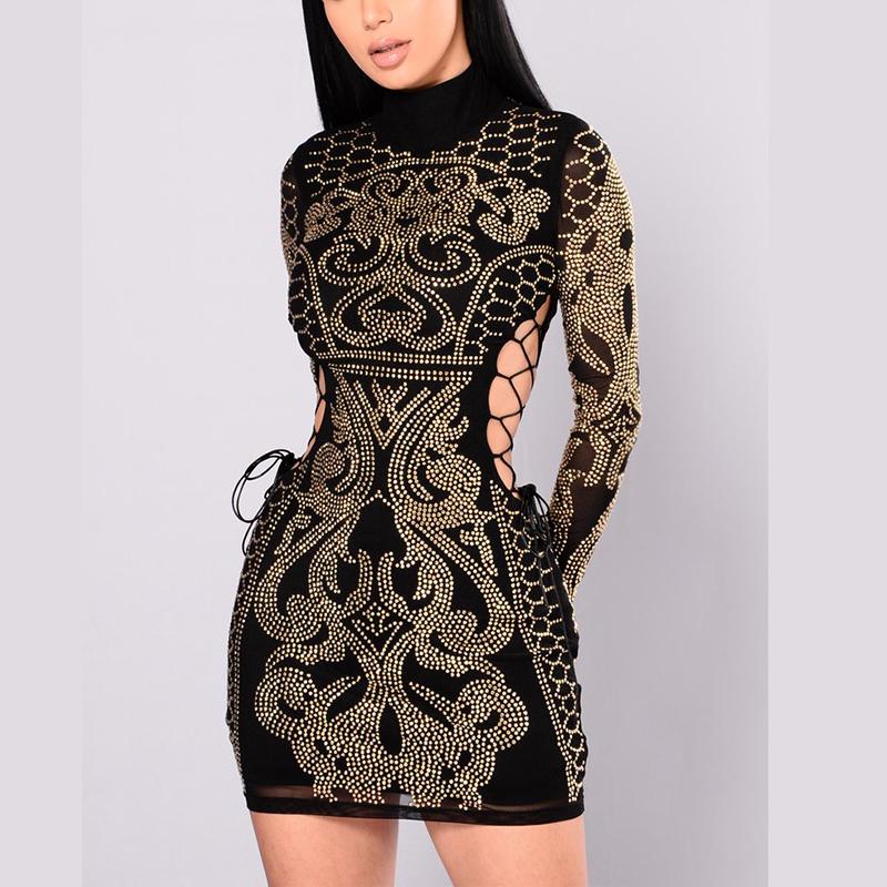 लंबी आस्तीन लक्जरी महिलाओं के कपड़े कपड़े महिलाओं के कपड़े जड़ी पोशाक