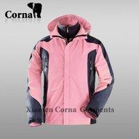 China supplier cheap Pink waterproof windproof 3 in 1 fleece lined waterproof jacket