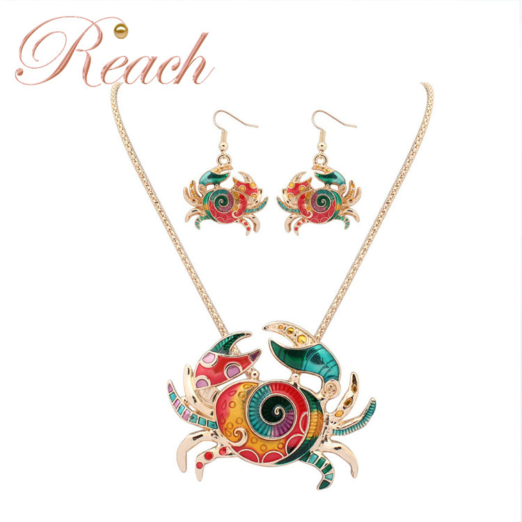 Wholesale Necklace Earrings Crab Shaped Gold Plated Jewelry Set