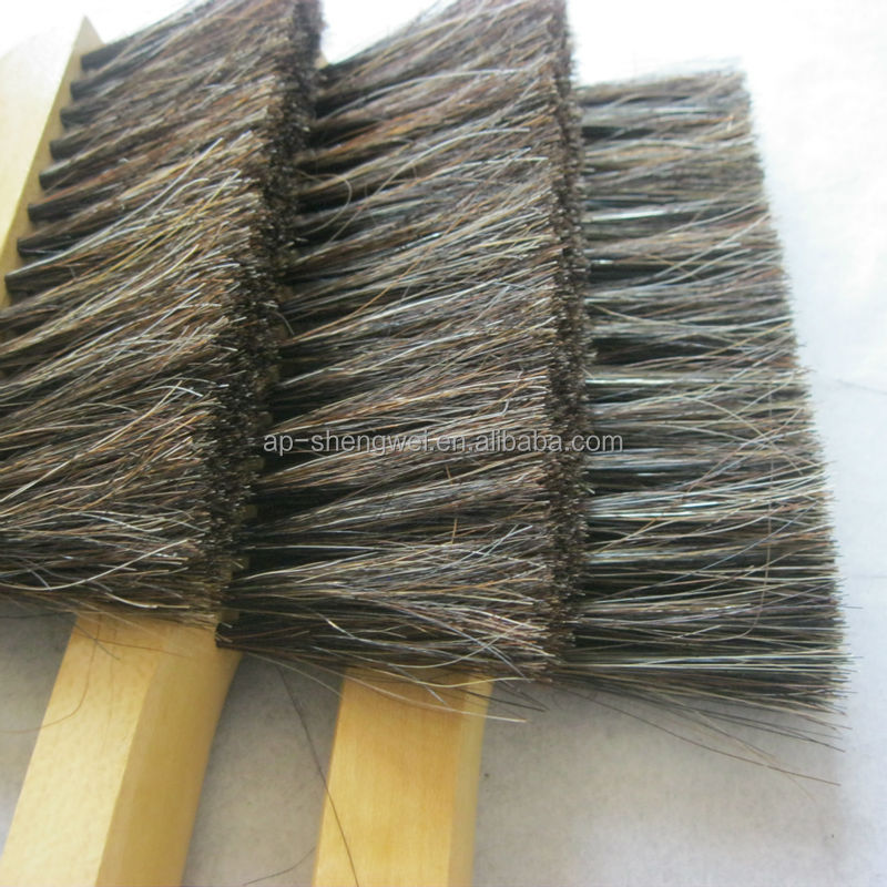 wood handle horse hair mix PP dust brush