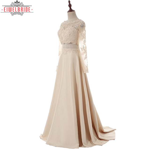 380f0e8e0 Formal Two Pieces Long Sleeves Taffeta Prom Dress Evening Long 2017