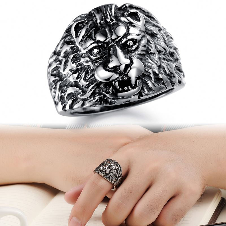 2018 Cheap Custom Wholesale Men Jewelry Casting Stainless Steel Lion Head Rings