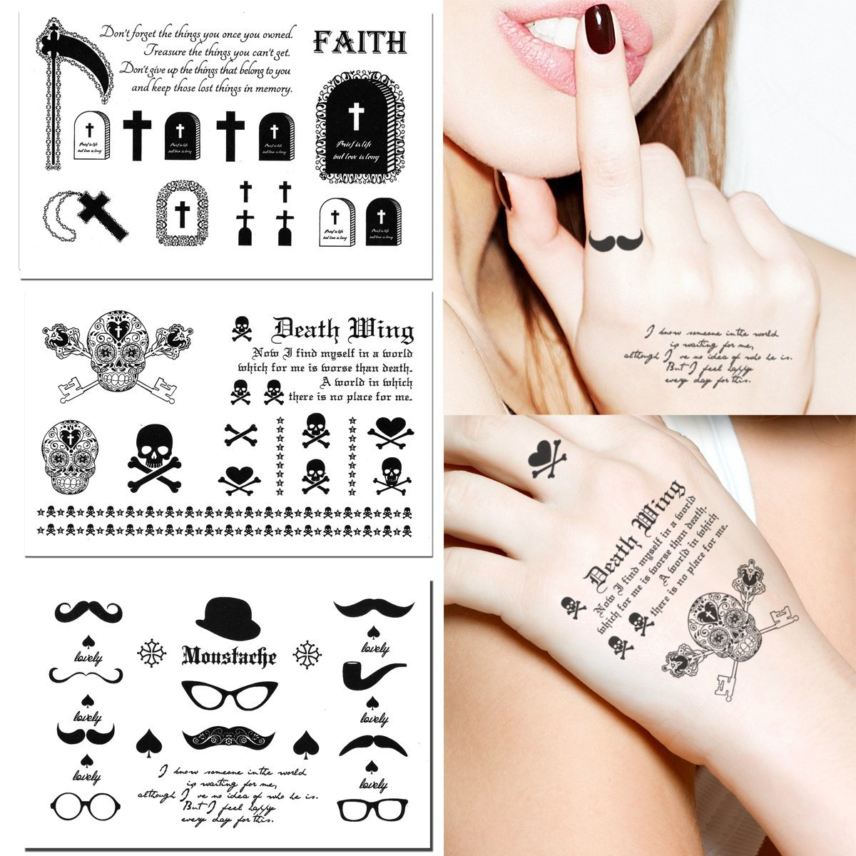 d4cedc0c7b685 Get Quotations · 3-sheets Black & White Temporary Tattoos Quote Moustache  Skull Cross Grave - Finger,