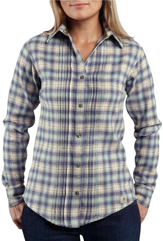 f0691ceaefd Get Quotations · Carhartt 100030 Women s Irvine Flannel Shirt Patriot Blue  X-Small