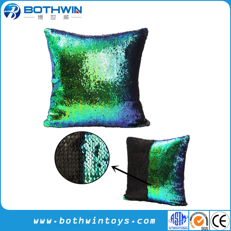 Magic Blue and Green Changing Mermaid Reversible Sequins Glitter Pillow