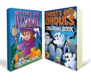 Halloween Coloring Books Bundle - Two Great Halloween Coloring Books for Kids - Includes a Witches and Wizards Coloring Book and a Ghosts and Ghouls Coloring Book That's Great for Kids and Packed with 80+ Awesome Images - Ideal for Boys and Girls and Mom Approved