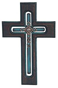 StealStreet SS-G-28290, 18 Inch Decorative Wooden Wall Hanging Cross Statue Figurine