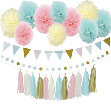 31pcs Baby Blue Pink Cream Gold Tissue Paper Pompom Party Decoration Kit with Triangle Banner Paper Tassel Garland For Birthday