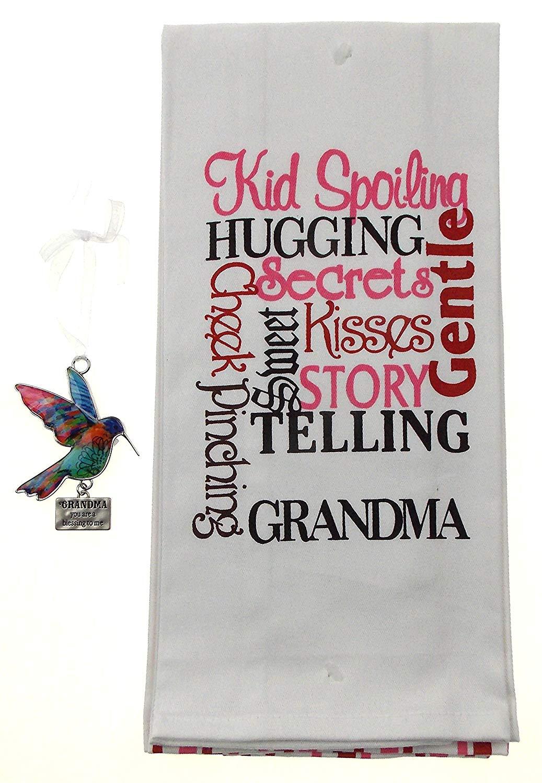Grandma 2 Kitchen Towel Set Bundled with Grandma Hummingbird Ornament