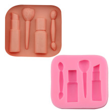Neues design 4 hohlraum makeup tools <span class=keywords><strong>backen</strong></span> silikon formen, Lippenstift pinsel moule silikon fondant BPA frei silikonformen für <span class=keywords><strong>backen</strong></span>