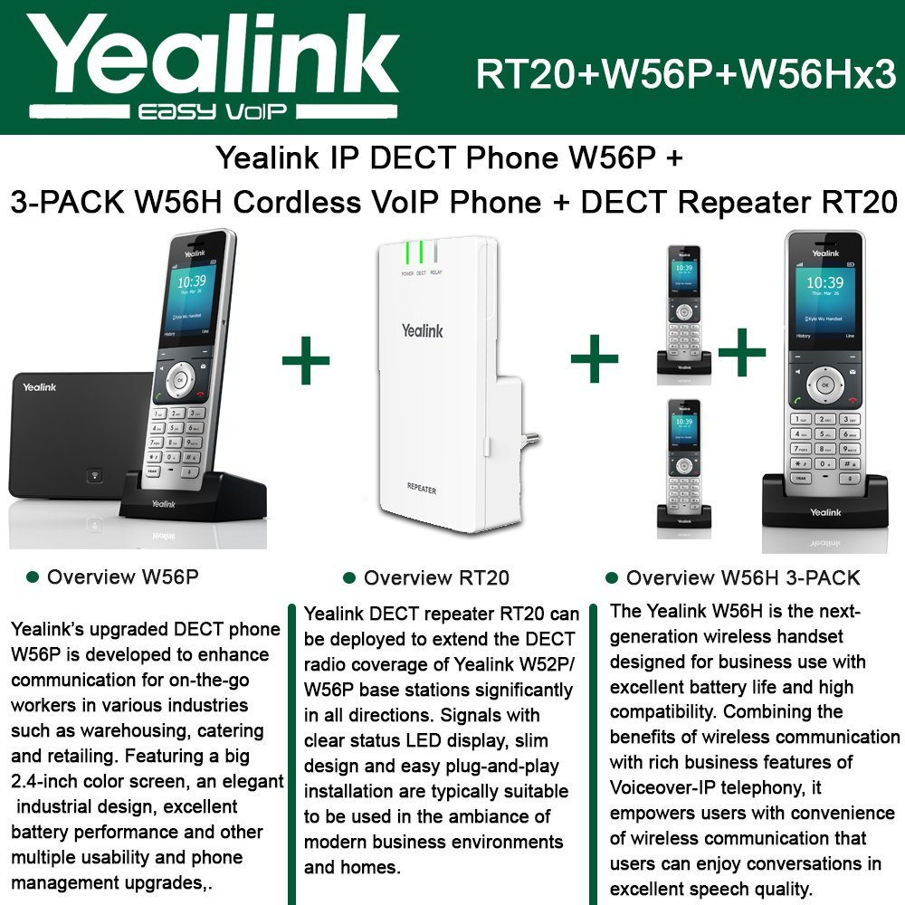 Yealink W56P IP DECT Phone + 3PACK W56H Cordless VoIP Phone + DECT Repeater RT10