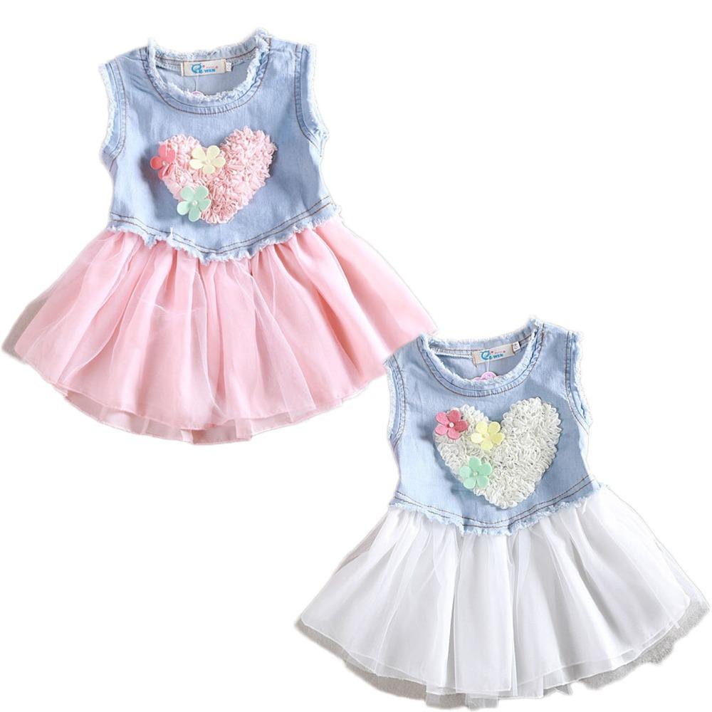 193a72bb1d Get Quotations · New Kids Girls Denim Mesh Dress Flower Heart Shape Kids  Cowboy Tutu Dress Princess Jean Denim