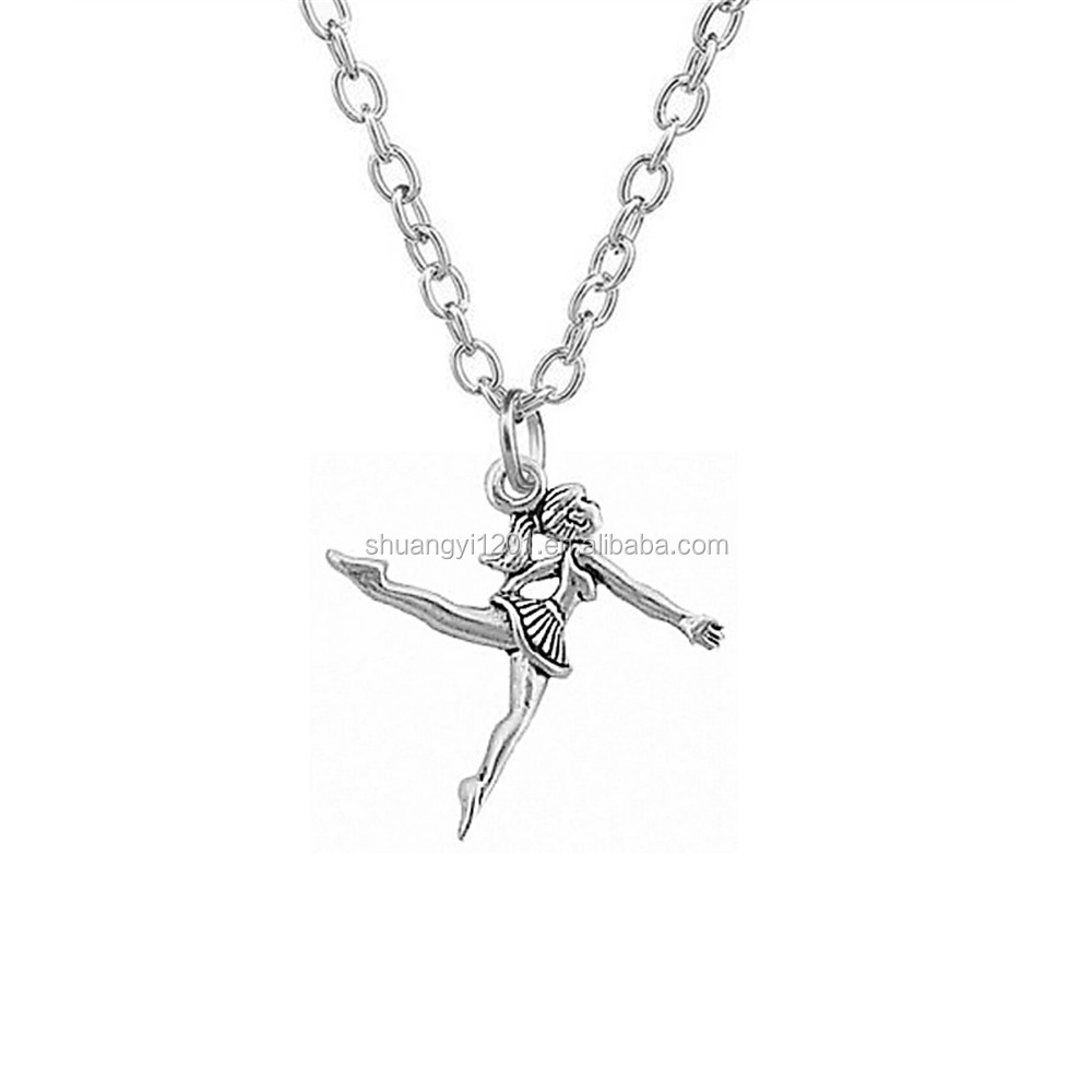 Antique Silver Plating Ballerina Dance Girl Necklace Dancing Jewelry For Dancer New Design