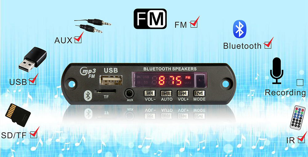 Placa de leitor de áudio usb bluetooth mp3 12 volts para leitor de dvd