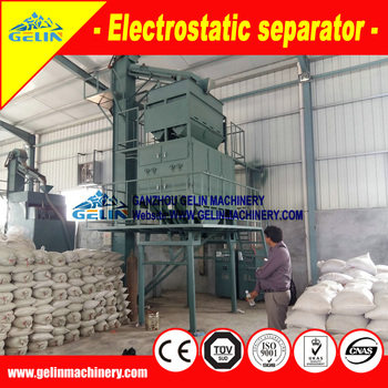 High voltage dry Mini electrostatic separator for small scale condutive heavy minerals sands project