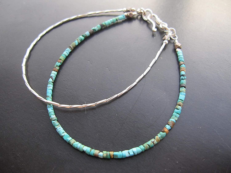 """Double strand Tiny Afghan Turquoise seed beads Bracelet,Karen Hill Tribe Silver Tube bead Bracelet,Custom size 6.5"""",7"""",7.5"""",8"""""""
