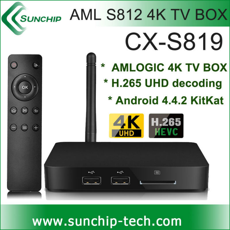 SUNCHIP NEW S819 4K Tv box android4.4.2 quad core smart tv box android mini pc OTA update with H.265 hardware decoding S812