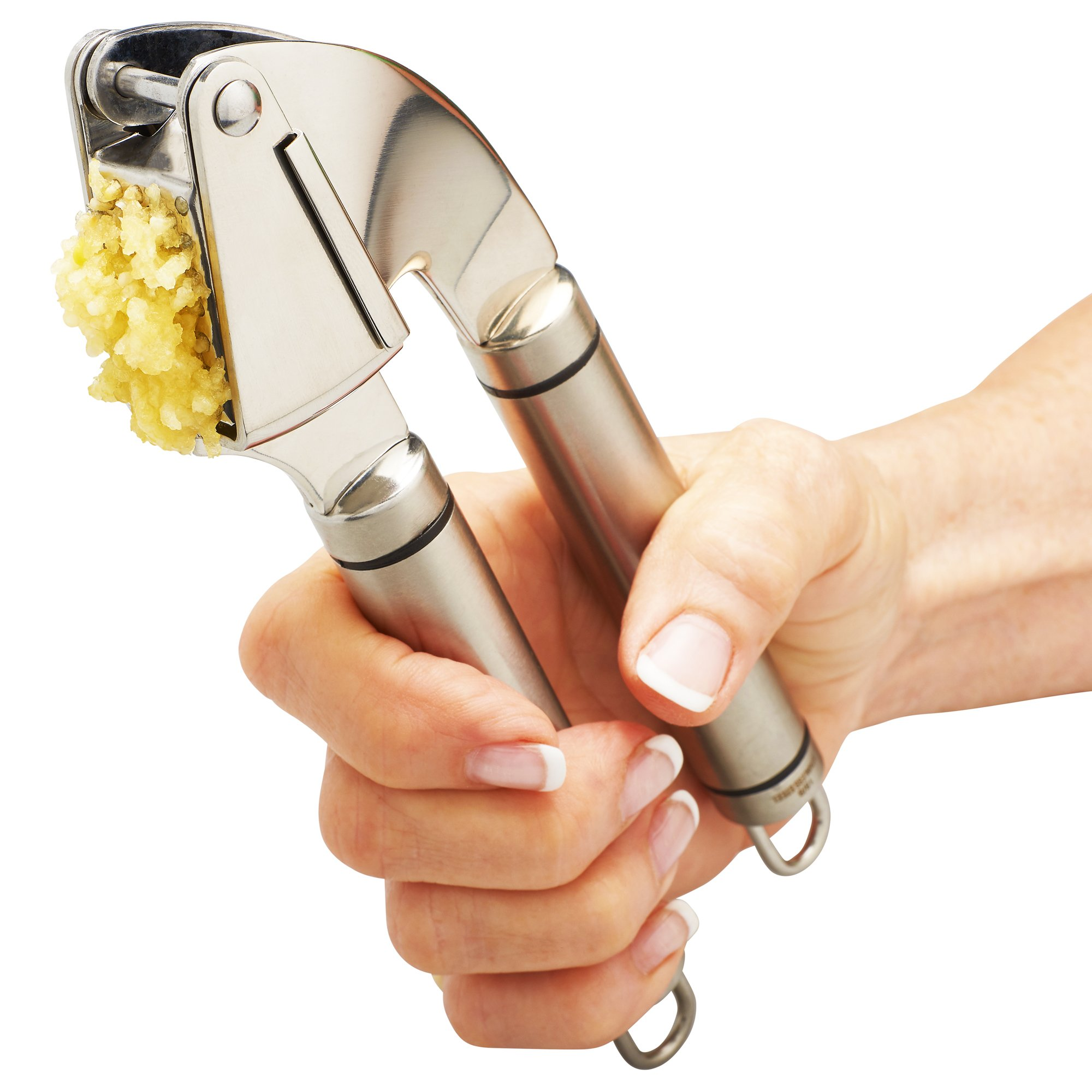 Qlty First Stainless Steel Professional Garlic Press, Crusher Complete Bundle - Includes Silicone Peeler, Cleaning Brush and Garlic Recipe Ebook