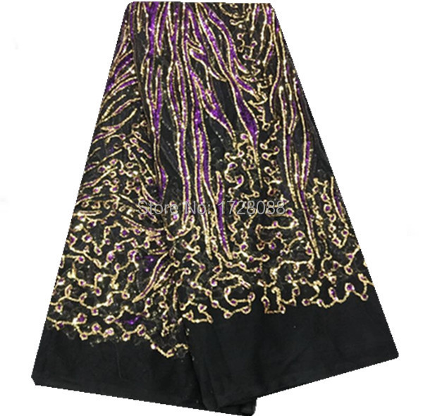 TXY02-167 black+gold+purple!top quality African net lace fabric with sequins,popular design French lace fabric for party dress!