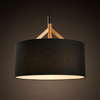 Wooden Fabric Suspension Light Round Drum Pendant Lamp