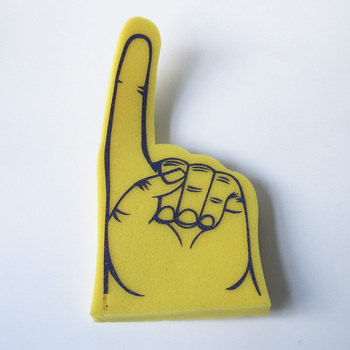 Hot Sale Yellow Printed Foam Hand For Cheering Wave Giant Foam Hand Sponge