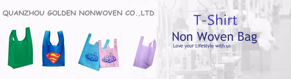 Quanzhou Golden Manufacturer Reusable T Shirt Packaging Non woven Cloth Bag/45gsm nonwoven T-shirt bag