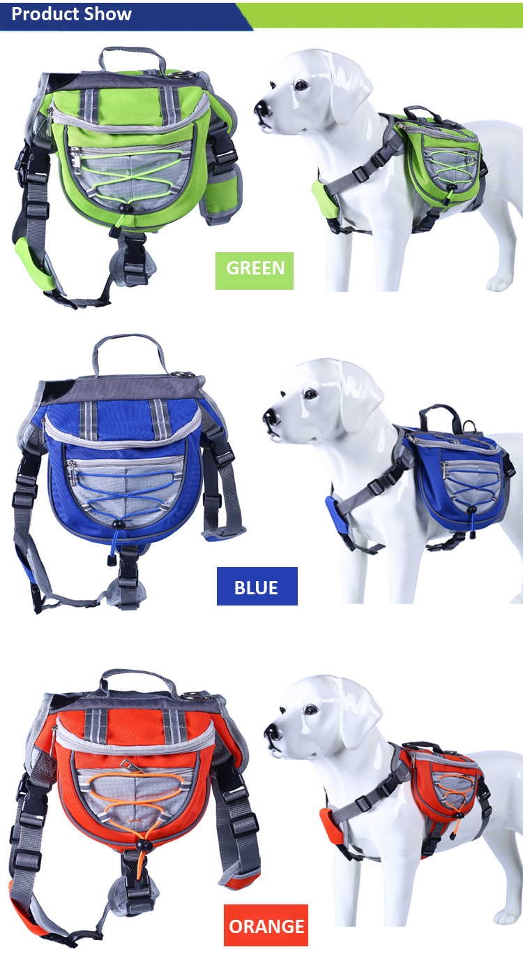 Pet Dog Backpack Outdoor Travel Hiking Camping , Adjustable Reflective Saddle Bag Dog Backpack Harness
