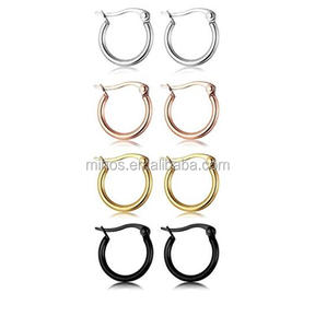 2017 Hot Sale Stainless Steel Hoop Earrings Set Cute Huggie Earrings For Women,4 Colors A Set