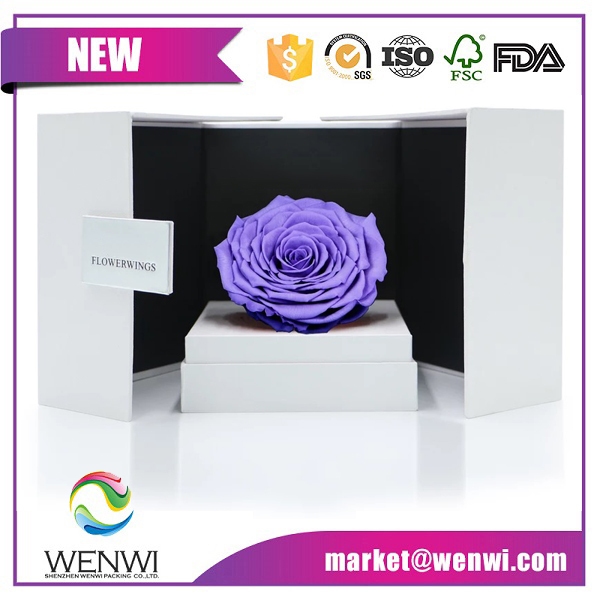Luxury Packing Decorative Rectangle Design Single Flower Rose Gift Box