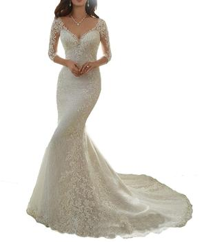 cheap new beaded full length style wedding dress fashion for women with train hot sale