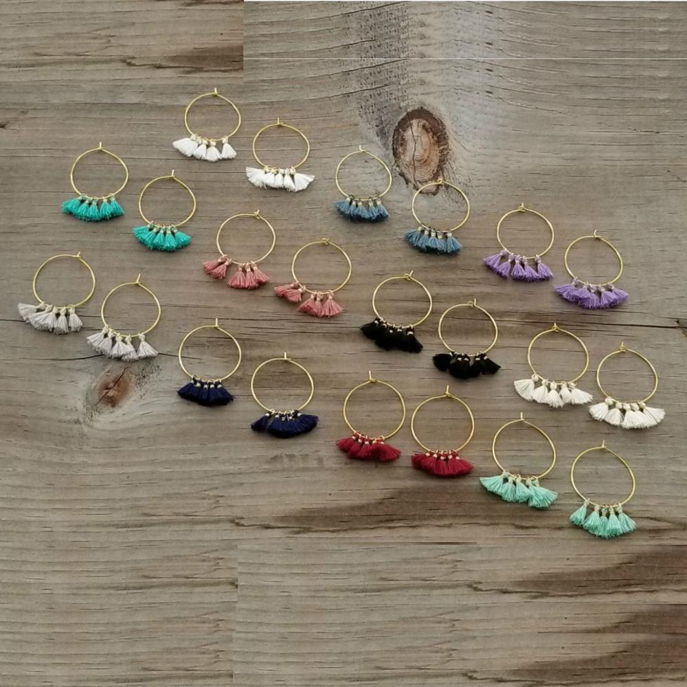 Bulk Dainty Mini Tassel Hoop Earrings