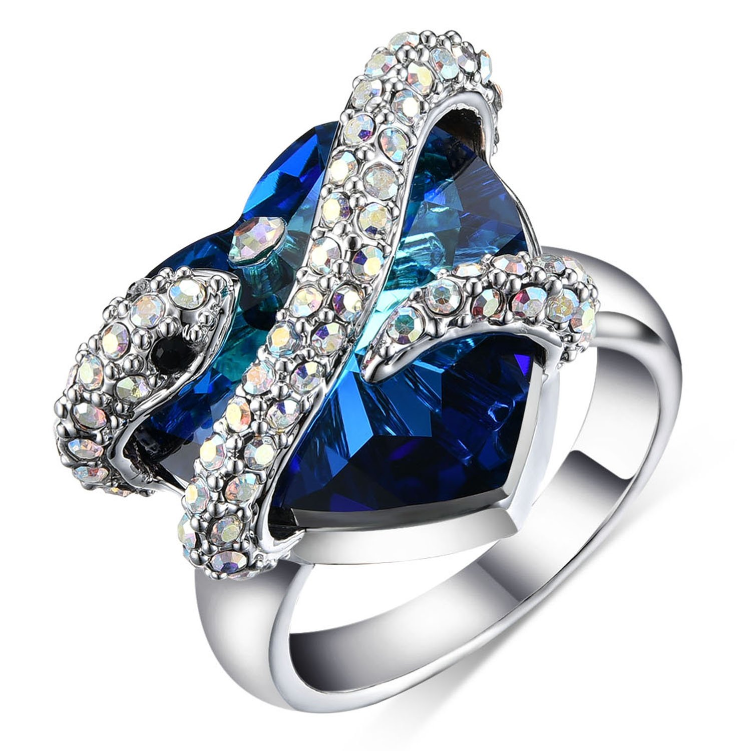 4808cc80f8ce Get Quotations · sedmart Snake Love Heart Crystal Ring 2017 New Design  White Gold Animal Promise Rhinestone Ring with