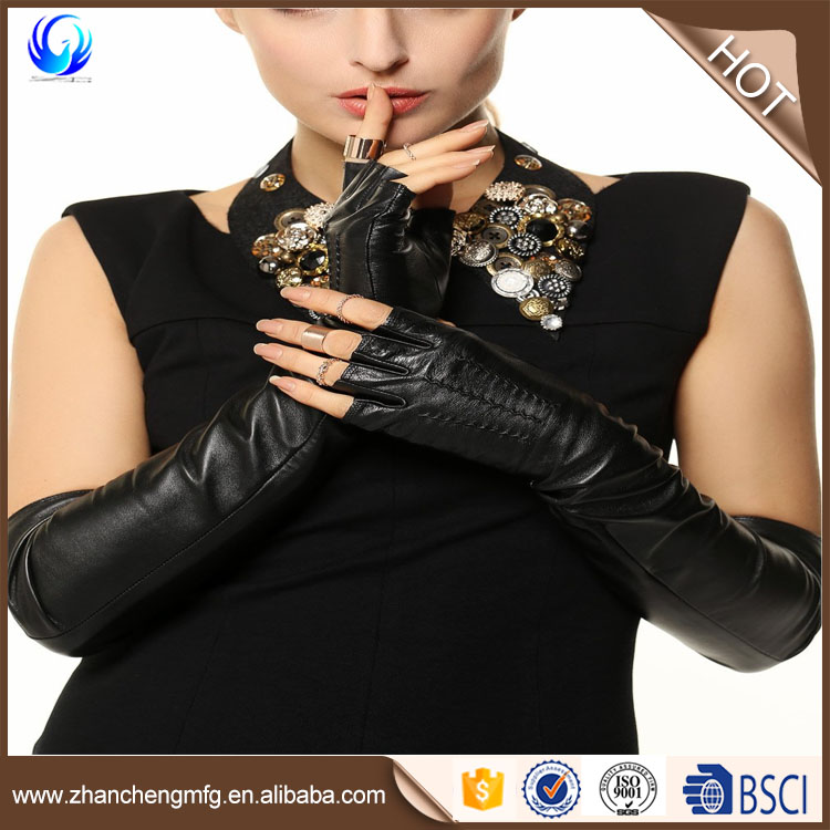 Professional Leather gloves half fingerless black color fashion long gloves made in China