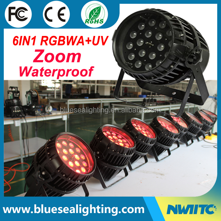 18x18W RGBWA UV 6in1 zoom stage light 64 waterproof led par can