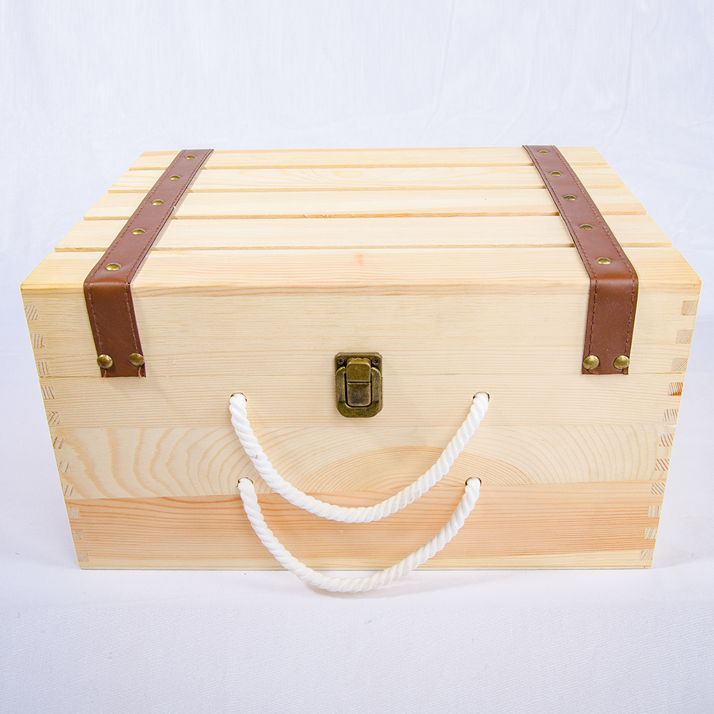 High quality wine gift box with handle wooden wine box oak wood