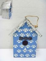 Good Sale 8-5/8''H Wooden Birdhouse with Dog Footprint Design