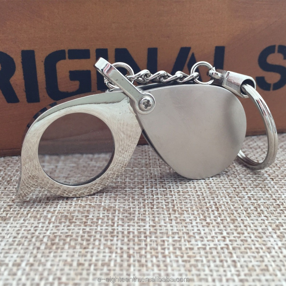 Foldable Folding Key Chain Keychain 8X Magnifier Loupe Glass Lens Pocket
