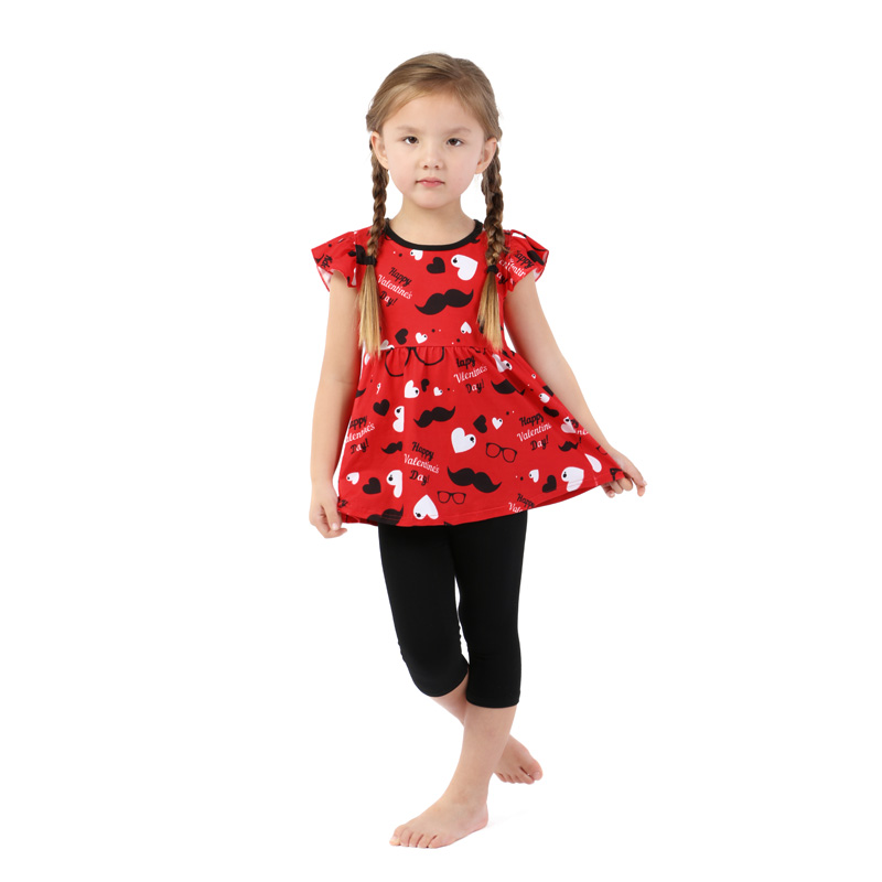 Wholesale boutique print flutter sleeve kids children clothes toddler girl sets
