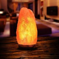 AK Lamp Natural Himalayan Salt Rock Lamp, Pink Crystal Hand Carved Hymalain Lamps with Real Rubber Wood Base 2-3KG