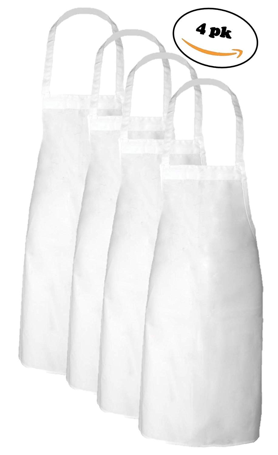 Elaine Karen Adult Men's Women's Unisex Chefs Adjustable Extra Long Ties, Professional Commercial Grade White Bib Apron 4PK