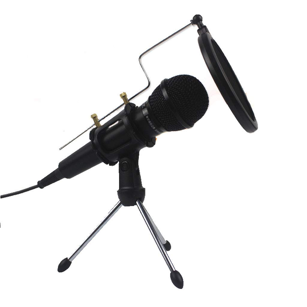 PC Condenser Microphone- USB Plug & Play Professional Home Studio Microphone, for YouTube, Facebook, Recording, Skype, Podcasting, with Tripod Stand (Color : Black)