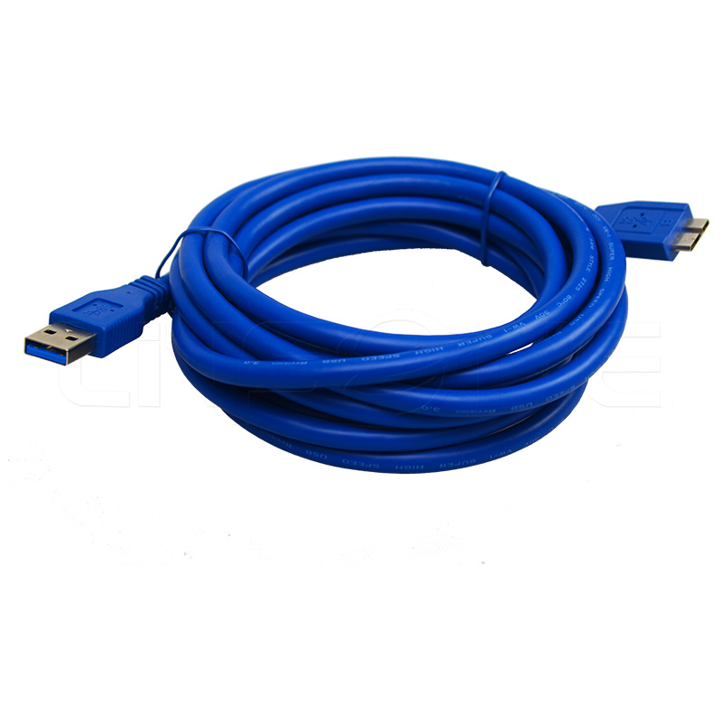 Blue micro b to usb 3.0 extension charging data cable cord 3m