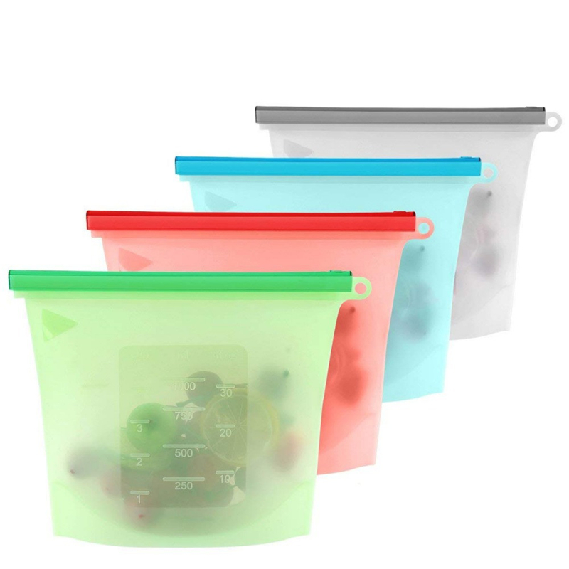 Safe for Microwave & Freezer Reusable silicone bag food storage фото