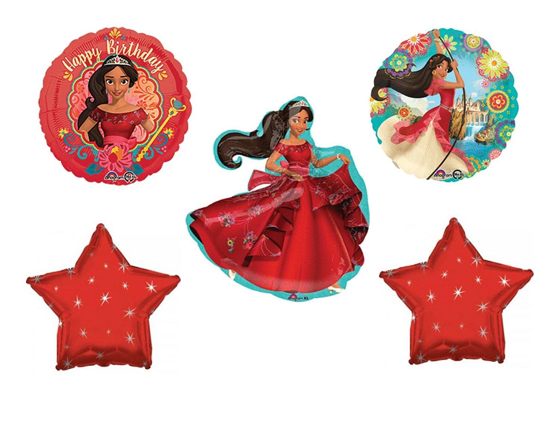 5 Piece ELENA OF AVALOR Happy Birthday Party Balloons Decoration Supplies Disney Show