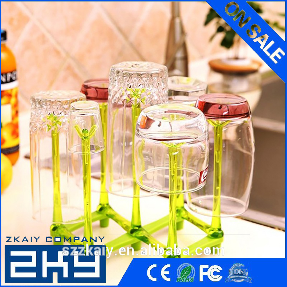 Plastic Glass Cup Rack Water Mug Draining Drying Organizer Drain Holder Stand Seven Cups 14-17cm Home Kitchen Supplies