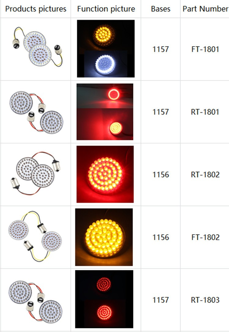 Atubeix Led Turn Signal Inserts 1157 Bases Bullet Style White Running Amber Turn Signal Light for Motorcycle Chrome