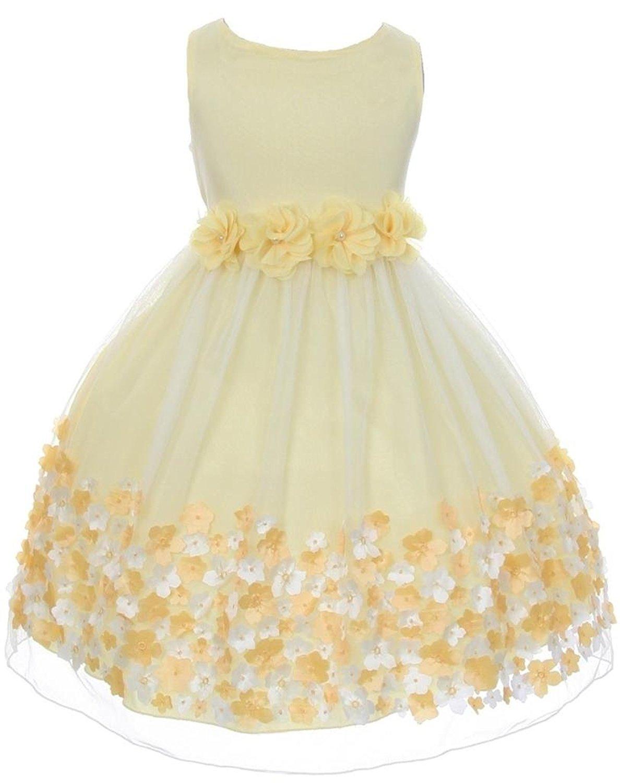 0a612b92be Get Quotations · Big Girls  Mesh Taffeta 3D Chiffon Wedding Easter Flowers  Girls Dresses Yellow Size 8